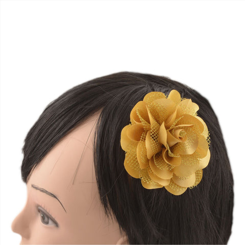 Kids Girls Handmade Single Flower Tic Tac/Hair Pin/Hair Clip Set Of 2 - StompMarket