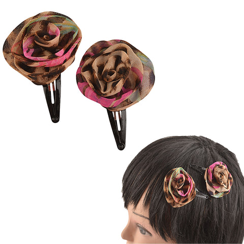 Kids Girls Handmade Rose Tic Tac/Hair Pin/Hair Clip Pair - StompMarket