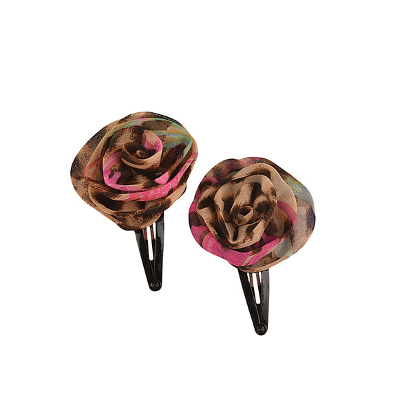 Kids Girls Handmade Rose Tic Tac/Hair Pin/Hair Clip Pair