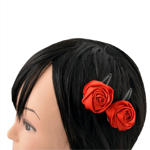 Kids Girls Handmade Rose Flower Tic Tac/Hair Pin/Hair Clip Pair - StompMarket