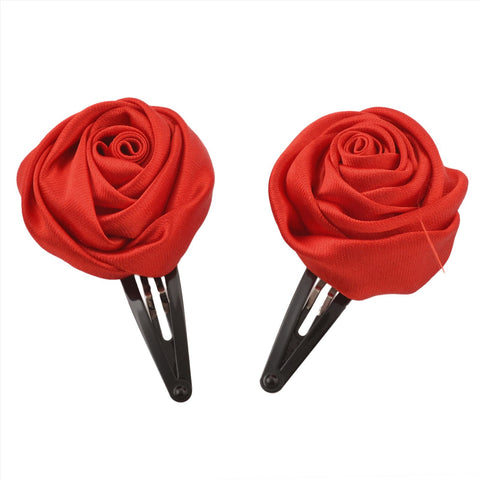 Kids Girls Handmade Rose Flower Tic Tac/Hair Pin/Hair Clip Pair