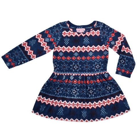 Kids Wear For Girls Navy Blue Jacquard Full Sleeves Fleece Frock