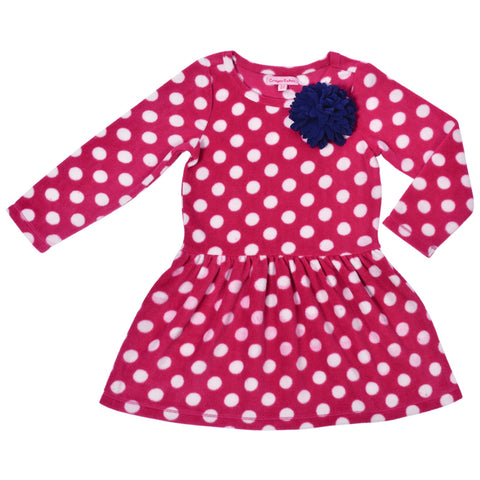 Kids Wear For Girls Pink Full Sleeves Fleece Frock