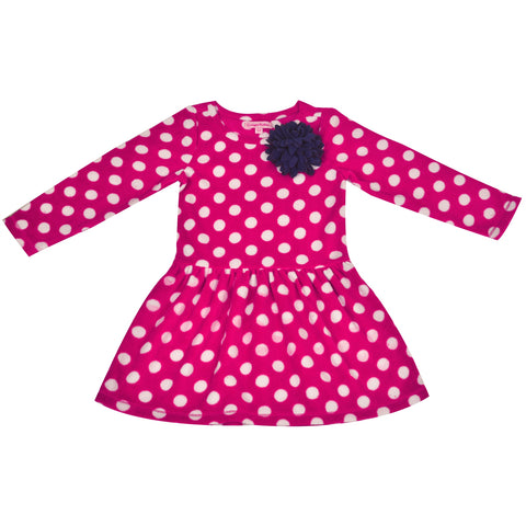 Kids Wear For Girls Pink Full Sleeves Fleece Frock - StompMarket