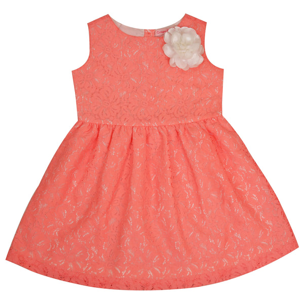 Kids Wear For Girls Net Fabric Sleeveless Frock Floral Dress