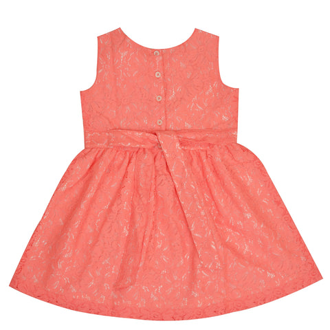 Kids Wear For Girls Net Fabric Sleeveless Frock Floral Dress - StompMarket