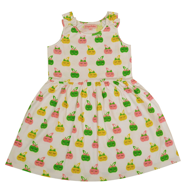 Kids Wear For Girls Cotton Sleeveless Frock Smiley Apple Dress