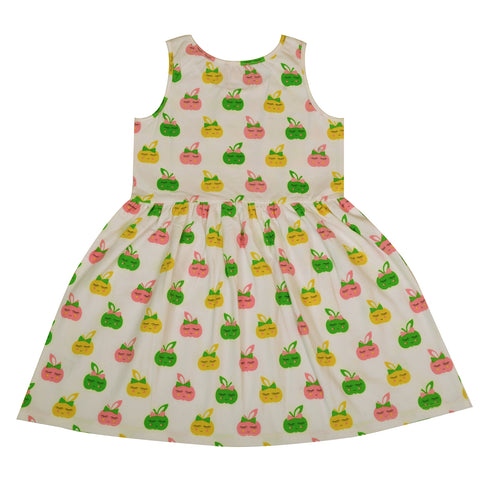 Kids Wear For Girls Cotton Sleeveless Frock Smiley Apple Dress - StompMarket