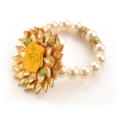 Kids Girls Floral Hand Beaded Stretchable Bracelet With Pearls - StompMarket