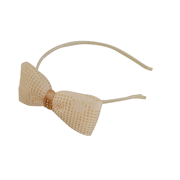 Kids Girls Golden Bow Hair Band Head Accessory With Zircons