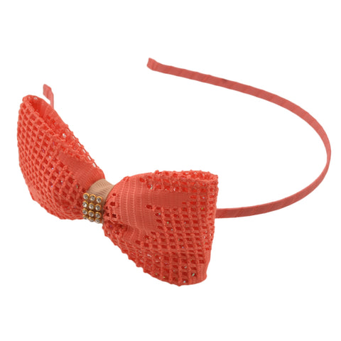 Kids Girls Golden Bow Hair Band Head Accessory With Zircons - StompMarket