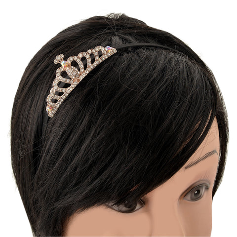 Kids Girls Golden Black Tiara Hair Band Head Band With Zircons - StompMarket