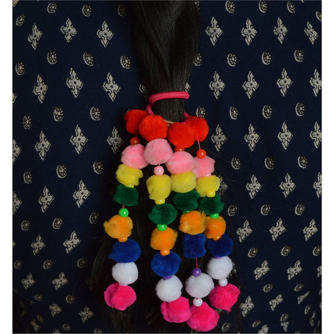 Kids Girls Ponytail Hair Rubberband Holder Hair Accessory Pompoms - StompMarket