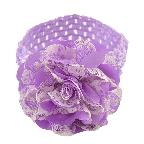 Kids Girls Flower Stretchable Soft Elastic Lace Headband/Hair Band