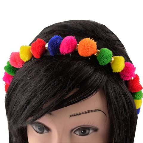 Kids Girls Multi Color Pom Poms Hair Band Head Accessory - StompMarket
