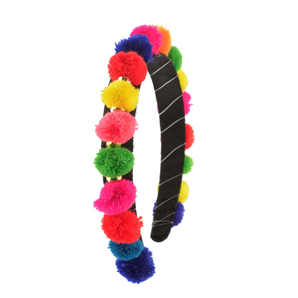 Kids Girls Multi Color Pom Poms Hair Band Head Accessory