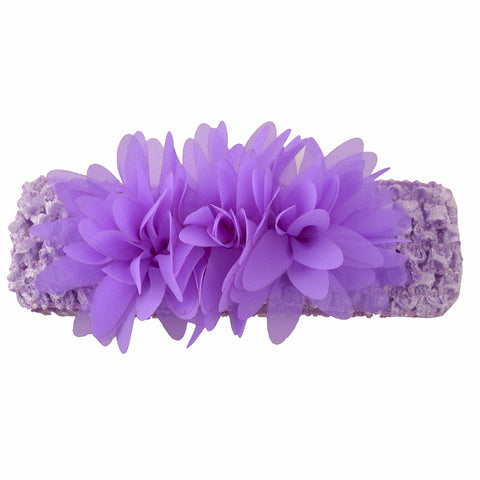 Kids Girls Stretchable Soft Elastic Crochet Ruffle Headband Purple 6 Months To 3 Years