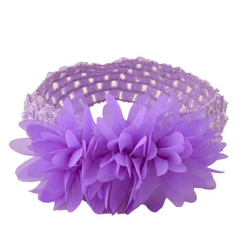 Kids Girls Stretchable Soft Elastic Crochet Ruffle Headband Purple 6 Months To 3 Years - StompMarket