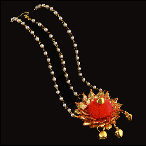 Handmade Kids Girls Floral Beaded Mangtikka Navratri With Pearls - StompMarket