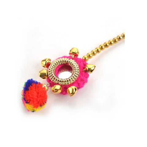 Handmade Kids Girls Beaded Mangtikka Party Wear With Mirror Pompoms - StompMarket