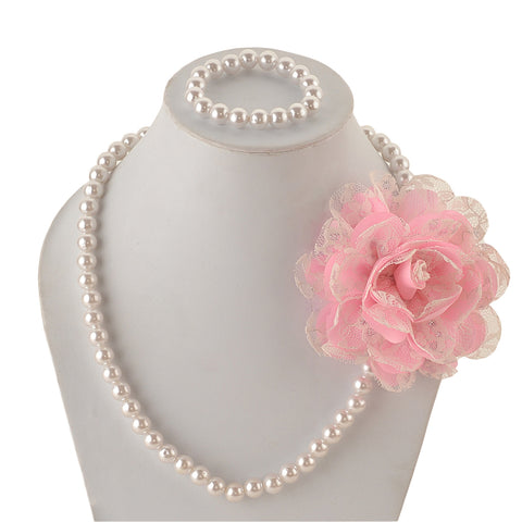 Kids Girls Handmade Pearl And Flower Necklace & Bracelet Set With Ribbon For 3 To 13 Years - StompMarket