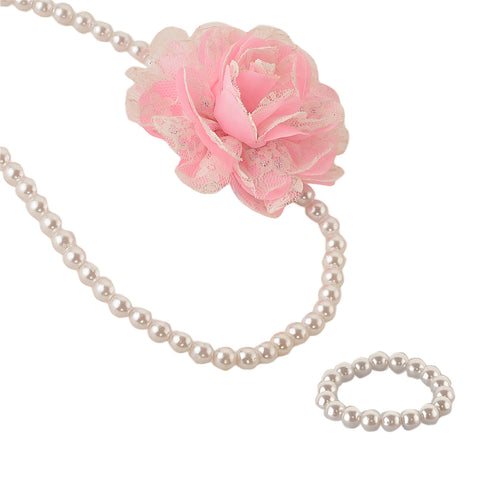 Kids Girls Handmade Pearl And Flower Necklace & Bracelet Set With Ribbon For 3 To 13 Years