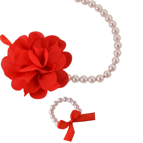 Kids Girls Handmade Flower Necklace & Bracelet Set With Ribbon - StompMarket