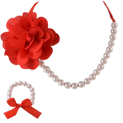 Kids Girls Handmade Flower Necklace & Bracelet Set With Ribbon