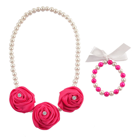 Kids Girls Handmade Rosette With Beads Necklace & Bracelet Set
