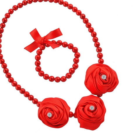 Kids Girls Handmade Rosette With Beads Necklace & Bracelet Set - StompMarket