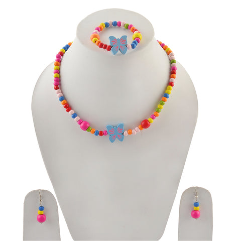 Kids Girls Handmade Beaded Necklace Earrings & Bracelet Set - StompMarket