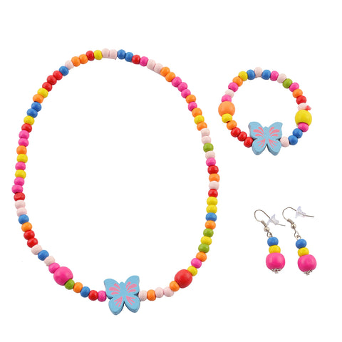 Kids Girls Handmade Beaded Necklace Earrings & Bracelet Set