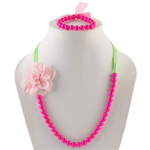 Kids Girls Handmade Pearl And Flower Necklace & Bracelet Set - StompMarket