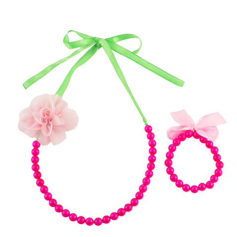 Kids Girls Handmade Pearl And Flower Necklace & Bracelet Set