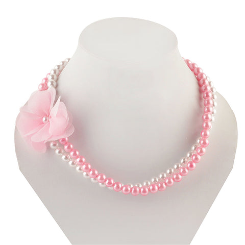 Kids Girls Handmade Pearl And Flower Double Strand Necklace - StompMarket