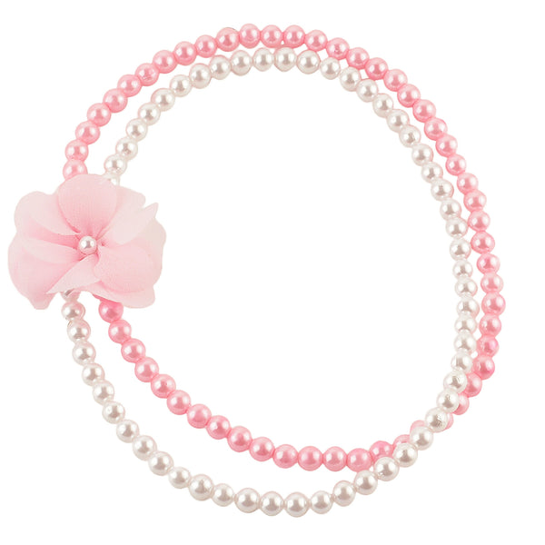 Kids Girls Handmade Pearl And Flower Double Strand Necklace
