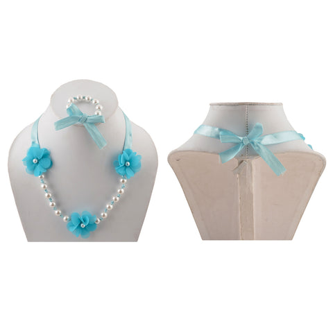 Kids Girls Handmade Flower Necklace And Bracelet Set With Ribbon - StompMarket