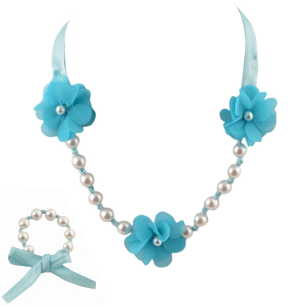 Kids Girls Handmade Flower Necklace And Bracelet Set With Ribbon