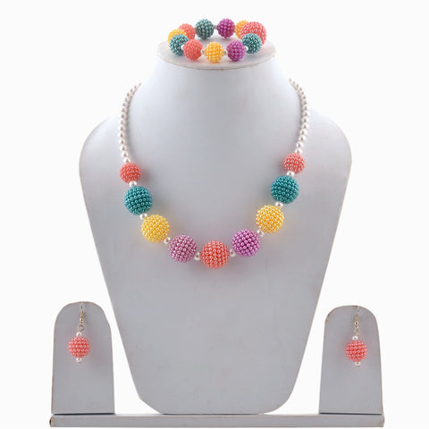Kids Girls Handmade Beaded Necklace Earrings And Bracelet Set - StompMarket
