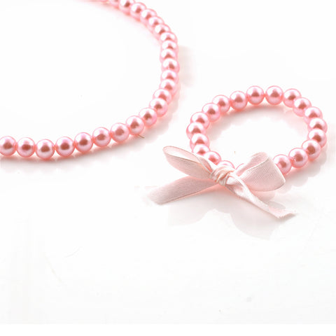 Kids Girls Handmade Beaded Necklace & Bracelet Set With Bow - StompMarket