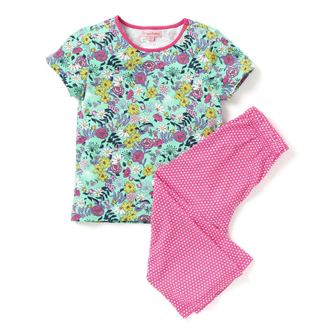Kids Wear For Girls Cotton Green Printed Night Suit Sleep Suit Set
