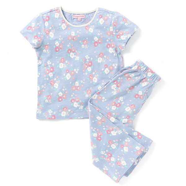 Kids Wear For Girls Cotton Purple Night Suit Sleepsuit Set