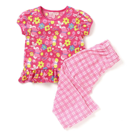 Kids Wear For Girls Cotton Pink Night Suit Sleepsuit Set