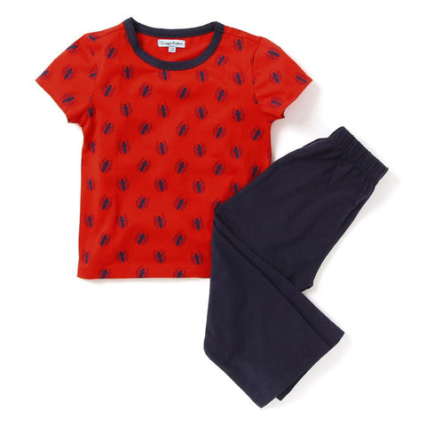 Kids Wear Girls & Boys Cotton Red & Blue Night Suit Sleepsuit Set