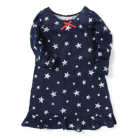 Kids Wear For Girls Cotton Blue Star Print Dress
