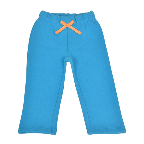 Kids Wear Turquoise Teddy Patch Cotton Poly Brushed Fleece Pants