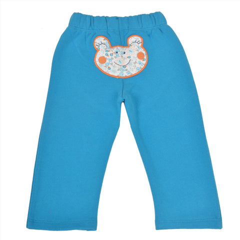 Kids Wear Turquoise Teddy Patch Cotton Poly Brushed Fleece Pants - StompMarket