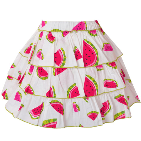 Kids Wear For Girls 100% Cotton 3 Tiered White Printed Short Skirt - StompMarket