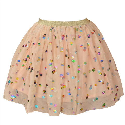 Kids Wear For Girls Net Short Skirt With Shining Polka Dots