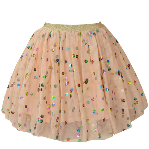Kids Wear For Girls Net Short Skirt With Shining Polka Dots - StompMarket